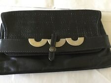 "diva ""Italy"" Black Leather Clutch Bag Vintage beautiful soft Italian leather"
