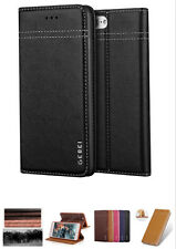 Genuine Cow Leather Flip Card Holder Wallet Case Cover For iPhone 7 Plus Black