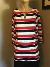 NWTS!!  LA VANYA 3/4 SLEEVED RED/BLACK/WHITE STRIPE V-NECK TOP!! SZ S