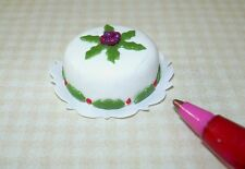"Miniature ""Floral Theme"" Christmas Cake #1 for DOLLHOUSE, 1/12 Scale Miniatures"