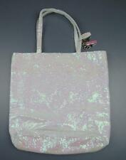 VICTORIA'S SECRET SEQUIN TOTE BAG Purse White Iridescent Sparkle ANGEL WINGS
