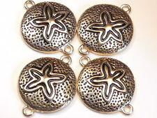 4 - 2 HOLE METAL BEADS CONNECTORS LINKS FINDINGS ANTIQUED GOLD TONE SAND DOLLAR