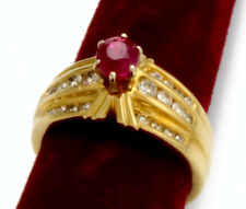 Deep-Red Ruby and Diamond 14K Yellow Gold Ring