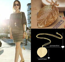 Women's Charm Golden Leaf Pendant Necklace Long Sweater Chain Jewelry Necklace