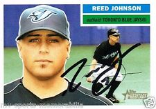 REED JOHNSON SIGNED 2005 TOPPS HERITAGE BLUE JAYS CARD ~AUTHENTIC / JSA (SPENCE)