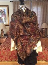 SUMPTUOUS CHIC LORO PIANA Flower print  X-LARGE cashmere/silk Shawl/Scarf