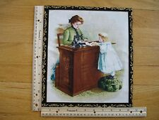 "Nostalgic Mother Daughter Sewing    Cotton Quilt Fabric Block 10 3/4"" x 9 1/4"""