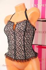 NWT Victoria's Secret Lingerie VS Lace Corset Unlined Zip /Slip S Black w White