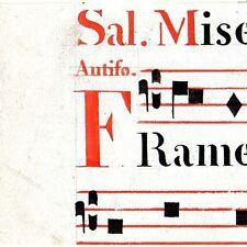 Manoscritto antico CAPOLETTERA F rosso ANTIFONARIO MUSICA 1850 ca. Drop Cap