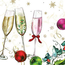 """Paper Luncheon Napkins 2 x 20pcs 13""""x13"""" Happy New Year Champagne Glasses"""