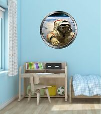 """24"""" Porthole Space Window ASTRONAUT FLOAT #2 SILVER Wall Decal Sticker Graphic"""