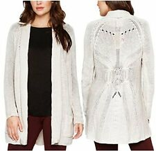 NEW Matty M Women's Wool Blend Crochet Open Front Cardigan Sweater Oatmeal XXL