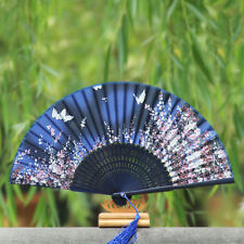 Hot Sale 1Pcs Butterfly and Flower Hand Held Silk Bamboo Japanese Folding Fan FG