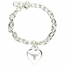 NCAA Texas Longhorns Heart Charm Bracelet Wristband Logo Cuff Game Day Fan