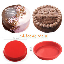 Christmas Round Silicone Cake Mold Pan Muffin Pizza Pastry Baking Tray Mould Red