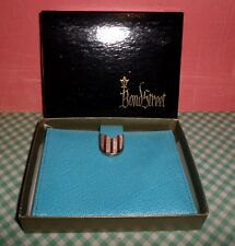 Bond Street Kidskin Leather Vintage Wallet Turquoise MIB Boxed Baghdad Kid 60's