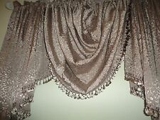 CROSCILL BRONZE BLUSH JULIA CASCADING FLORAL FRINGE 3PC WATERFALL, JABOT VALANCE