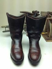 VINTAGE RED WING DISTRESSED OXBLOOD LEATHER ENGINEER OIL RIG BOOTS 8 D