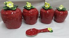 ACK Hand Painted 3-D Strawberry Canister Set #83501/Bonus Spoon Rest #83525 New
