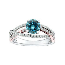 0.78 Carat Blue SI1 Round Diamond Solitaire Wedding Bridal Ring 14K White Gold