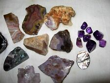 Purple Crystal Mineral Gem stone Lot! Amethyst Moonstone Grape Opal Fluorite
