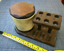 Vintage NETOP Wooden Smoking Tobacco 6 Pipe Rack/Stand/Holder + Humidor NICE