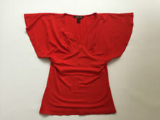 ROBERTO CAVALLI Women's Top Red S Short Sleeve V Neck Mint Condition **