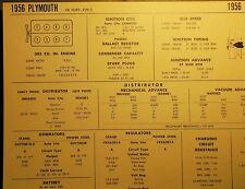 1956 Plymouth EIGHT Series Fury Models 303 Cubic Inch V8 Tune Up Chart Sheet