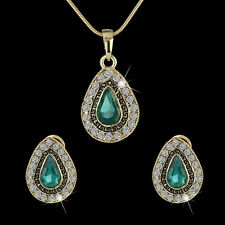 Vintage Waterdrop Gold Plated Green Crystal Necklace Earrings Stud Jewelry Set