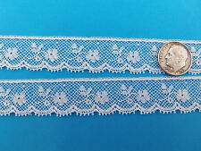 "French Heirloom Cotton Lace Edging 11/16"" Wide White Fashion/Craft/Doll Lace 882"