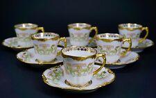 Pouyat Limoges Pink Floral Gold Encrusted Set of 6 Demitasse Cups Saucers