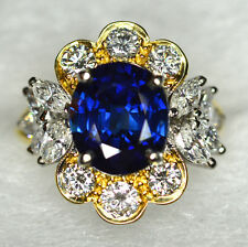 Exceptional Natural 4.12 Carat Burma Sapphire 2.5Ct Diamond Ring in 18K Gold GIA