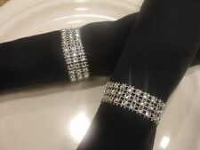 100 SILVER BLING RHINESTONE NAPKIN RINGS (3 ROWS)WEDDING/BRIDAL DECORATION PARTY