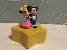 """4"""" Mickey & Minnie Mouse Yellow Star Container Trinket Box Plastic Figure Disney"""
