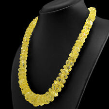 618.50 CTS NATURAL UNTREATED RICH YELLOW CITRINE CARVED BEADS HAND MADE NECKLACE