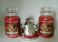 2 Yankee Candle 22 oz Jars Holiday Homecoming & Snowman Sleeve Holder New!!