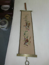 "Vintage Complete GEESE NEEDLEPOINT BELL PULL w/Jacmore Co. Brass - 7.5"" x 34.5"""