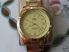 Nice New Q&Q by Citizen Gold Tone Men's Dress Watch w/Golden Dial