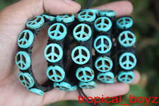 5 Multi PEACE Artificial Blue Turquoise Leather SlipKnotted Bracelets Wholesale