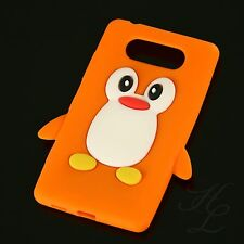 Nokia Lumia 820 Silikon Handy Case Schutz Hülle Etui Cover Pinguin Orange 3D