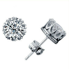 New Sliver Plated Fashion Jewelry 8MM Round Cubic Zirconia Silver Stud Earring 3