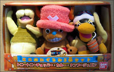 "One Piece 3-pc Plush 7"" Figure Set by Bandai Tony Chopper RARE DISCONTINUED ITEM"