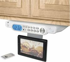 "GPX Under-Cabinet TV AM/FM Clock Radio 8.4"" LCD HD screen TV  MP3 DVD ready"