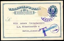 COSTA RICA TO GERMANY Postal Stationery Circa 1920 w/TAXE Due to Lack of Stamp