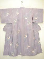 Precioso kimono japonés Komon/Boda Lila Seda Cherry Blossom & orquídeas's M/L