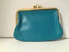 Vintage St. Thomas Teal Leather Wallet Coin Purse 40s 50s