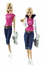 5in1 Set Fashion Clothes Outfit Coat+vest+jeans+bag+shoes For Barbie Doll z33