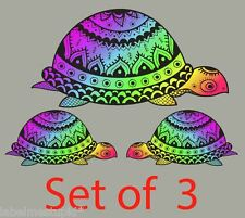 Set of 3 x Turtle Car Sticker Large 17 & 9cm Rainbow Coloured Beach Water Decal