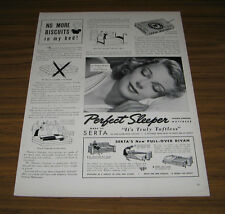 1939 Vintage Ad Serta Perfect Sleeper Mattress Pretty Lady Sleeping