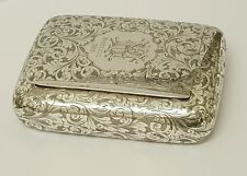 superb victorian antique solid silver snuff box birmingham 1895